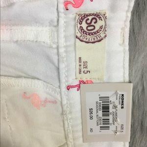 SO Shorts - SO white cuff shorts pink flamingo NEW size 5